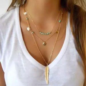 Gold Filled Multilayer Leaf Turquoise Necklace